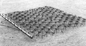 "48"" x 48"" Atlas Flexible Blanket Drag Harrow with 1/2"" Tines (shown with optional drawbar)"